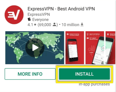 Tap to install ExpressVPN on Android.
