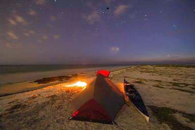 Camping on the beach at Anclote Key State Park