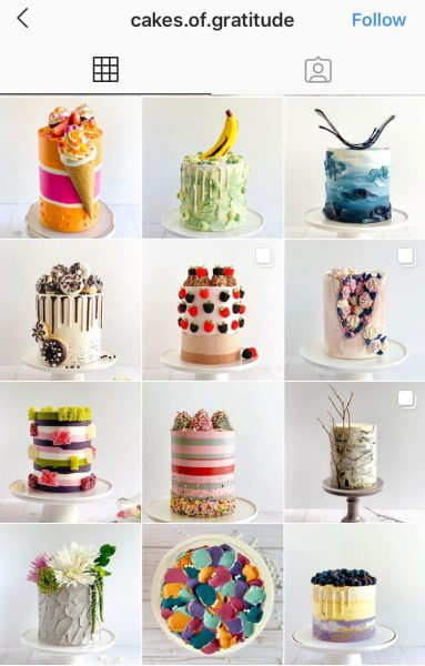 A screenshot of an Instagram feed that takes pictures of cakes