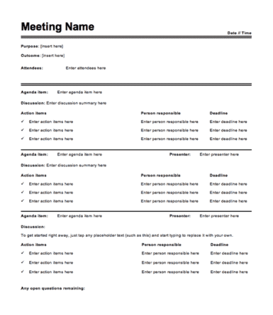 meeting minutes template word doc