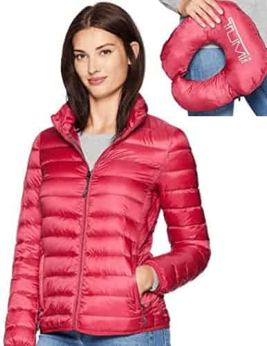 This tumi puffer jacket for men and women is also a travel pillow