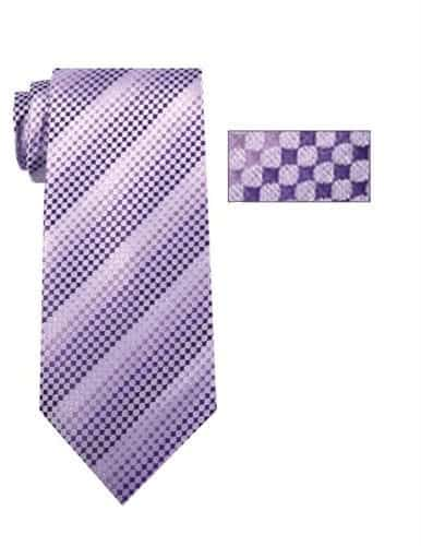 Mens Lavender and Purple Striped Pattern Skinny Necktie with Matching Pocket Square