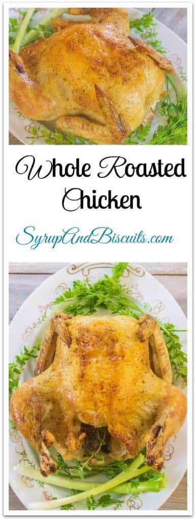 Whole Roasted Chicken is a dish that everyone who cooks chicken needs in their stable of dishes they've perfected. It's roasted simply in a cast iron skillet with a seasoning mix and melted butter.