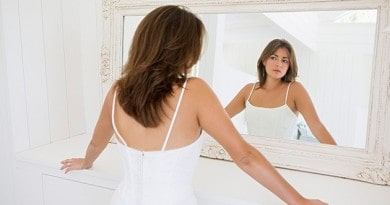 woman looking in the mirror - body image