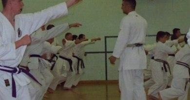 Sensei Greg taking a squad session at Hagley for Ruach Karate