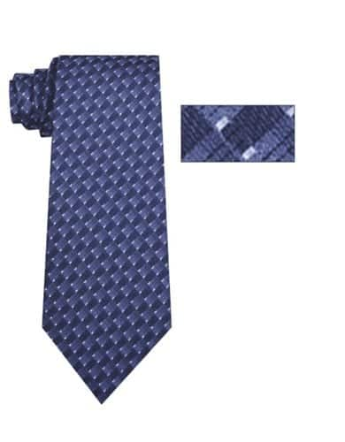 Mens Blue and Navy Striped Pattern Skinny Necktie with Matching Pocket Square