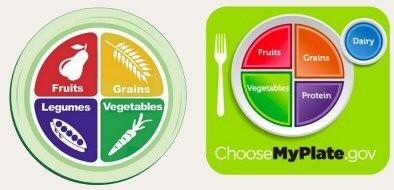 """""""صحني"""" ((النموذج الجديد لوزارتي الصحة والزراعة الأمريكيتين على اليمين)، و """"صحن القوة"""" الذي عرضته منظمة PCRM (على اليسار)"""