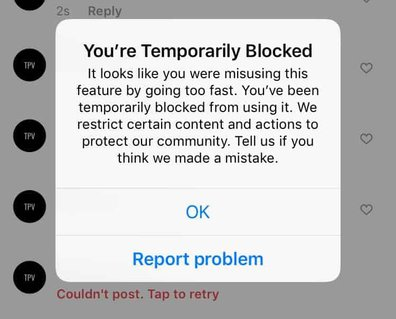 Screenshot saying you are temporarily blocked on Instagram