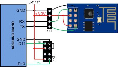 Conexión módulo ESP8266-01. Arduino