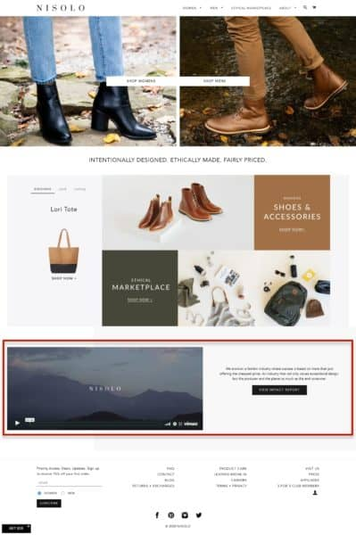 Example of a great ecommerce homepage by Nisolo
