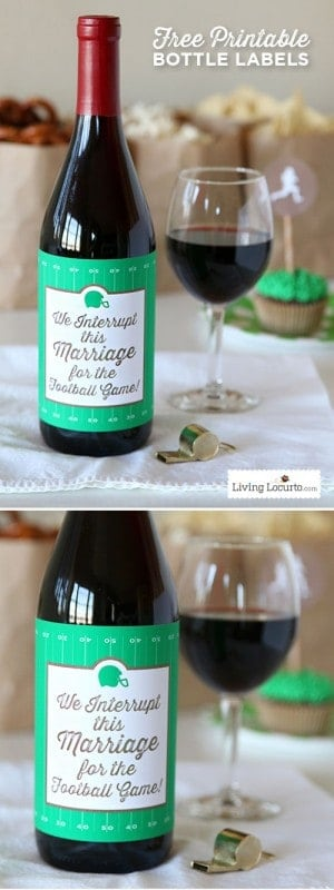 This funny football wine bottle label makes a great hostess gift for a football party or a tailgate party. If your spouse loves football, this free printable wine label is hilarious and often true! #freeprintable #football