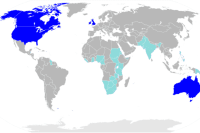 Map of nations using English as a de facto or official majority language (dark blue) or an official minority language (light blue)