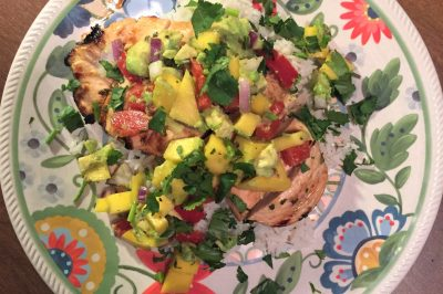 Mango Avocado Salsa Smothered Chicken over Cilantro-Lime Rice