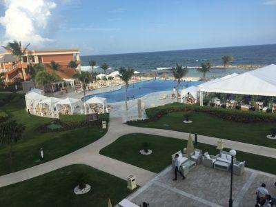 The open and airy pool deck and patios at akumal bahia principe