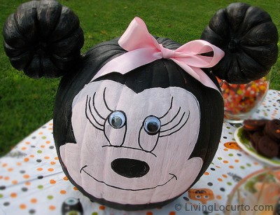 Minnie Mouse Halloween Painted Pumpkin. A Cute Disney Halloween Idea LivingLocurto.com