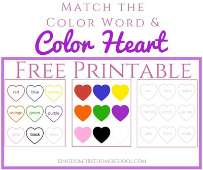 Free Printable - Match the Color Word with the Color Heart