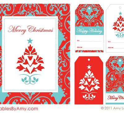 Red & Aqua Holiday Party Printables