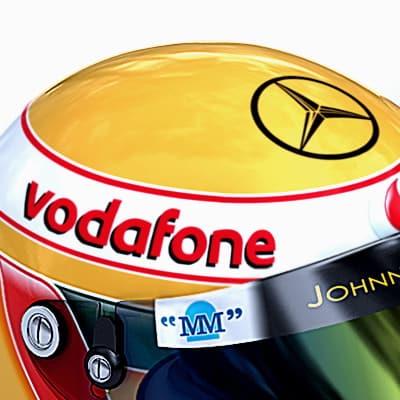 734 2007 F1 McLaren Helmets and Steering Wheel