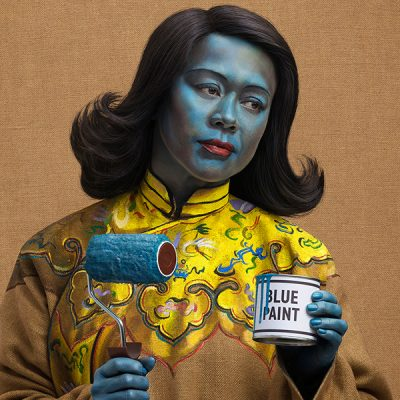 "Graphic Designer Kate Henderson recreating the famous ""Chinese Girl"" / ""Blue Lady"" in a shoot directed by Mark Denton"