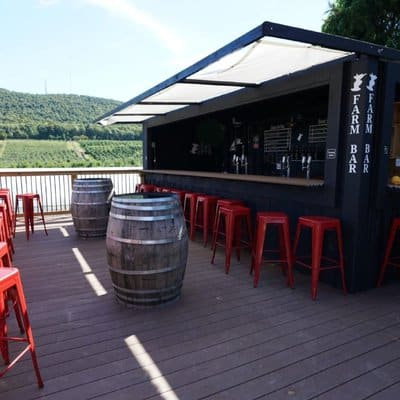 Bad Seed has an outdoor patio with a view of its orchards at its Farm Bar taproom.
