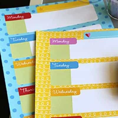 Printable Weekly Calendar for Kids
