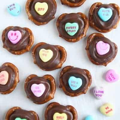 Conversation Heart Chocolate Pretzels