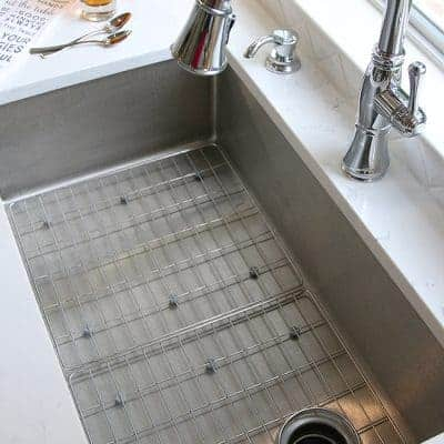 White Kitchen Sneak Peek! Stainless Steel Farmhouse Sink