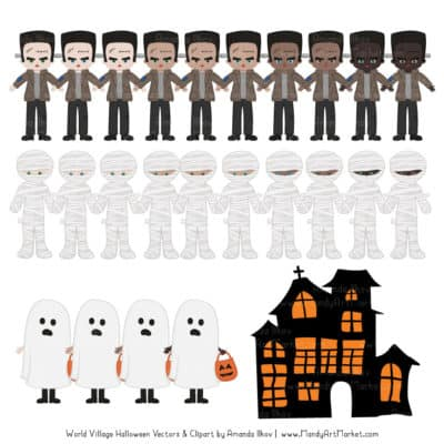 Spooky Halloween Characters Clipart