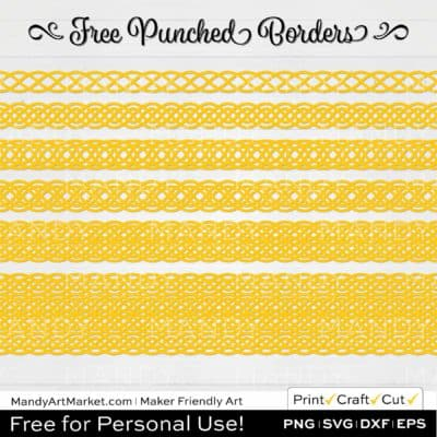 Banana Yellow Punched Border Braids Graphics on White Background