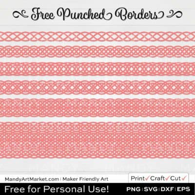 Blush Pink Punched Border Braids Graphics on White Background