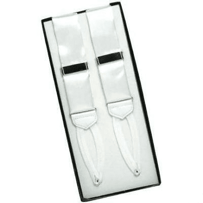 White Ike Behar Silk Button Suspenders with Braided Ends