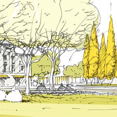 Bild: Handskizze zu einem Projekt, Grafik: ver.de landschaftsarchitektur