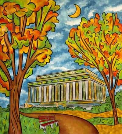 Lincoln Memorial autumn painting