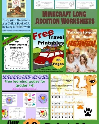 Our Top Ten Free Homeschool Printables for 2014 -- Come get them all!
