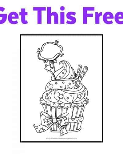 Free Printable Coloring Page for Birthday Celebrations - Cupcake