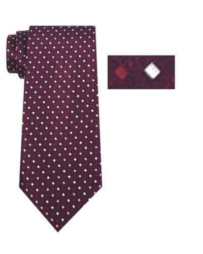 Mens Burgundy and Pink Striped Pattern Skinny Necktie with Matching Pocket Square