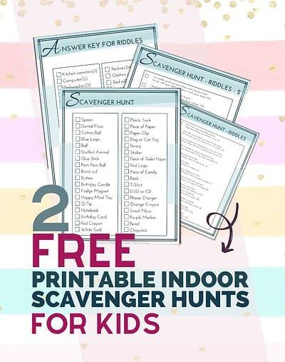 2 Free Printable Indoor Scavenger Hunts for Kids