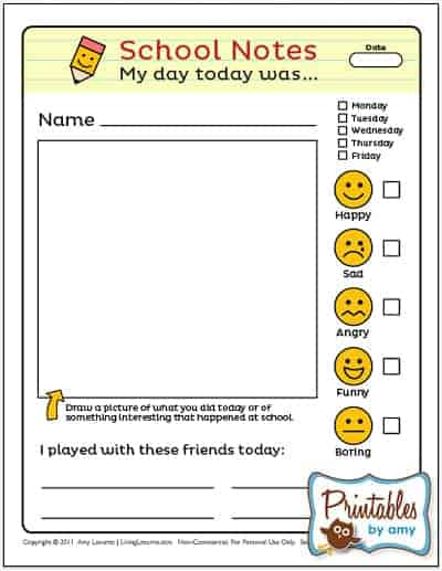 Fun notes to help kids tell you about their day! Back to School Free Printable for kids. LivingLocurto.com