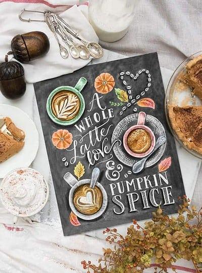 Pumpkin Spice Latte Chalkboard Art Print - Best Pumpkin Spice Latte Gifts