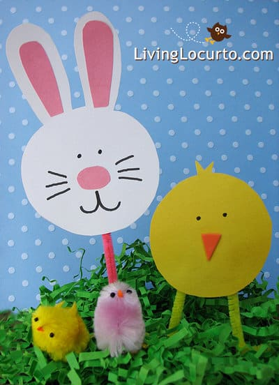 Easy Kid #Craft! #Easter Bunny & Baby Chick Cut Outs by livinglocurto.com