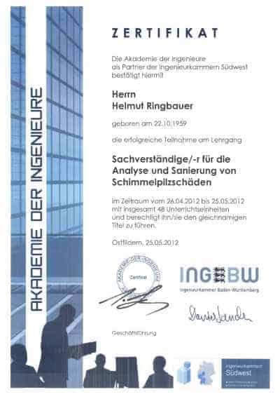 Zertifikat Sachverständiger für Schimmelpilzschäden