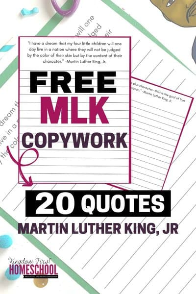 Looking for ways to build character, improve spelling and grammar? This Martin Luther King, Jr. Printable Copywork can help with all of that!