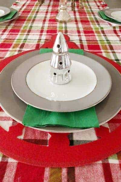 Christmas tablescape place setting