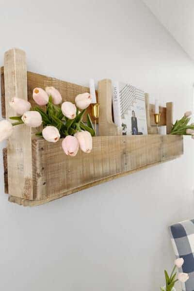 Styled pallet wood shelves