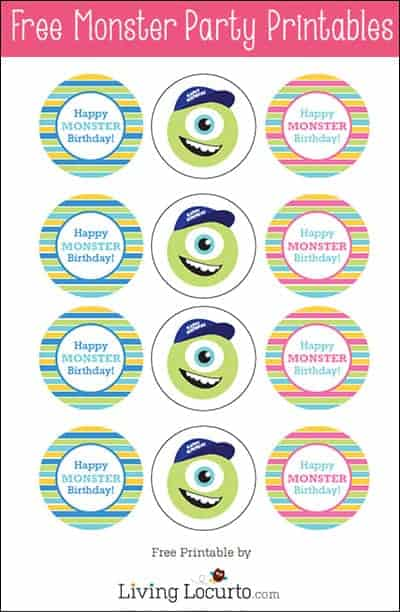 Monster Birthday Party Ideas with  Free Party Printables by Amy Locurto. LivingLocurto.com #monstersu #freeprintables