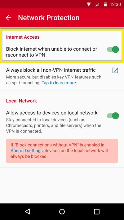 Androidのネットワーク保護トグル