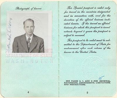 Passport photo of Frank Olson