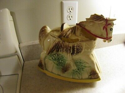 "Beautiful McCoy Rocking Horse Cookie Jar. Mid Century. 1950""s. Stamped McCoy & USA on the bottom. There are no cracks or chips. The glaze has the typical crackle look"