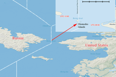 The Diomedes Islands mark the closest point between Russia and the United States.