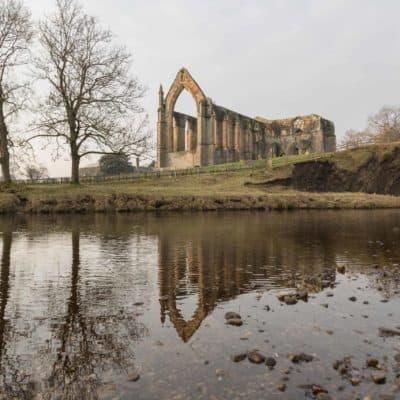 Bolton Abbey Priory across the River Wharfe